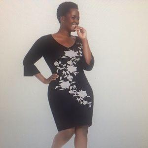 3X Gabby Skye Black and Tan Knit Dress
